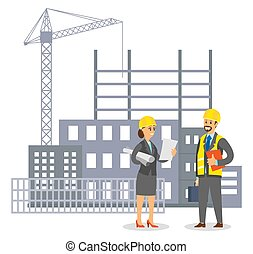 casco, parlare, fondo, costruzione, caposquadra, donna, uomo, uniforme, ingegnere, costruzione