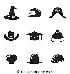 casco, set, icone, vettore, cappello nero
