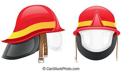 casco, vettore, pompiere