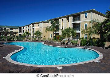 case, appartamento, stagno, swimimng