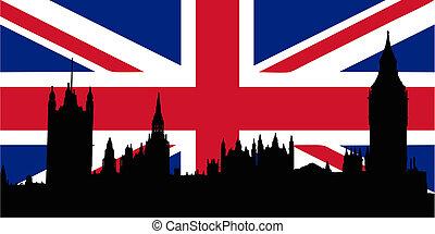 case, bandiera, regno unito, parliamen