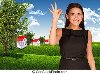case, esposizione, donna, paesaggio, chiave