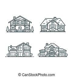 case, residenziale, linea sottile, icone