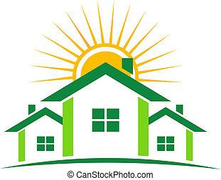 case, soleggiato, logotipo