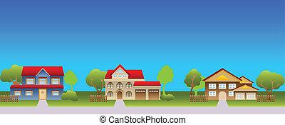case, suburbano, vicinato