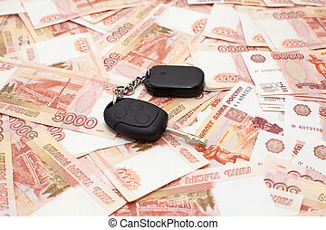 cashnotes, soldi, fondo, chiave, automobile