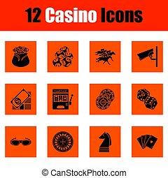 casinò, set, icona