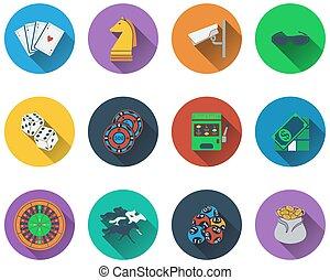 casinò, set, icone