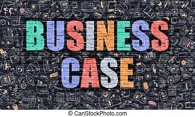 caso, affari, scarabocchiare, scuro, multicolor, brickwall., style.