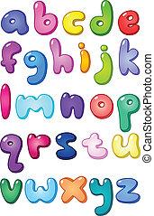 caso, alfabeto, più basso, bolla, 3d