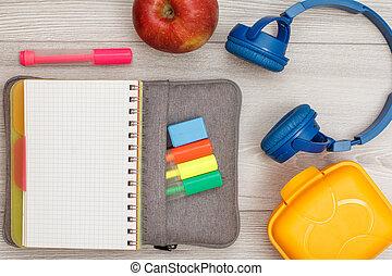 caso, bag-pencil, penne, colorare, app, feltro, pennarello, quaderno