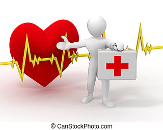 caso, battito cardiaco, medico, uomini