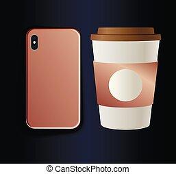 caso, caffè, smartphone, tazza oro, pendenza, rosa, neon, cartone