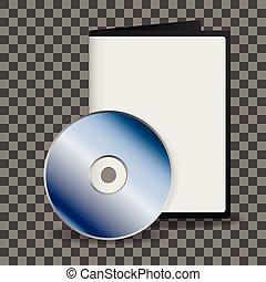 caso, cd, dvd, su, vuoto, baluginante, argento, beffare