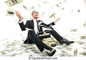 caso, pieno, seduta, lancio, soldi, rich!, giovane, formalwear, su, valuta, mentre, carta, uomo affari, felice