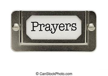 cassetto, preghiere, file, etichetta