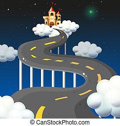 castello, andare, curva, strada