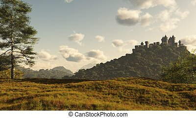 castello, distante, medievale