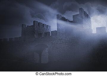 castello, iberico, medievale, dettaglio