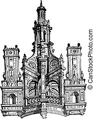 castello, lanterna, engraving., chambord, vendemmia