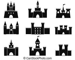 castello, nero, icone