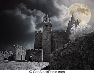 castello, pieno, medievale, luna, notte
