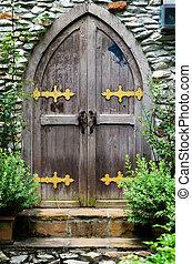 castello, porta, legno