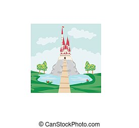 castello, vecchio, paesaggio, roccia