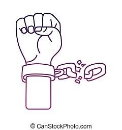 catena, mano, icona, stile, linea, rotto, schiavo