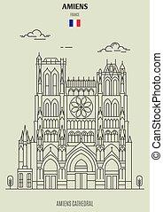 cattedrale, amiens, icona, punto di riferimento, france., amiens