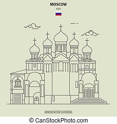 cattedrale, annunciazione, punto di riferimento, russia., icona, mosca