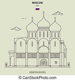 cattedrale, assunzione, punto di riferimento, russia., icona, mosca