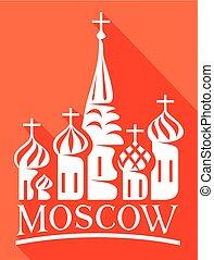 cattedrale, basils, quadrato, rosso, st
