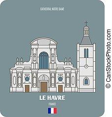 cattedrale, dama, havre, notre, francia, le
