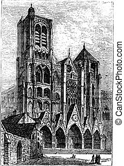 cattedrale, francia, bourges, bourges, incisione, vendemmia
