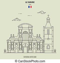 cattedrale, havre, icona, punto di riferimento, dame notre, le, france.