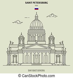 cattedrale, isaac, punto di riferimento, russia., santo, icona, petersburg