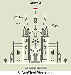 cattedrale, katowice, risurrezione, punto di riferimento, icona, poland.