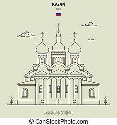 cattedrale, kazan, annunciazione, punto di riferimento, russia., icona