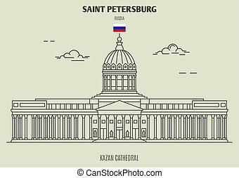 cattedrale, kazan, punto di riferimento, russia., santo, icona, petersburg