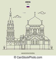 cattedrale, omsk, assunzione, punto di riferimento, russia., icona