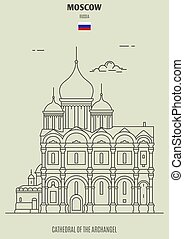 cattedrale, punto di riferimento, arcangelo, russia., icona, mosca