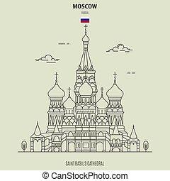 cattedrale, punto di riferimento, russia., santo, icona, mosca, basil's