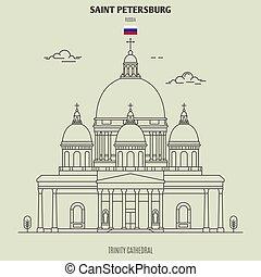 cattedrale, punto di riferimento, trinità, russia., santo, icona, petersburg