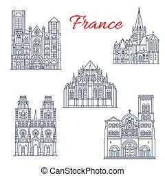 cattedrale, segno confine famoso, francese, viaggiare, icona