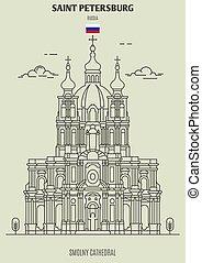 cattedrale, smolny, punto di riferimento, russia., santo, icona, petersburg