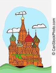 cattedrale, st., quadrato, basil's, rosso