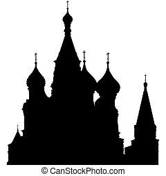 cattedrale, st., silhouette, basil's