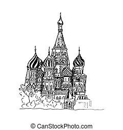 cattedrale, vista, basilico, illustrazione, vettore, urbano, santo, mosca