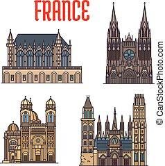 cattedrali, viaggiare, francese, gotico, punto di riferimento, icona